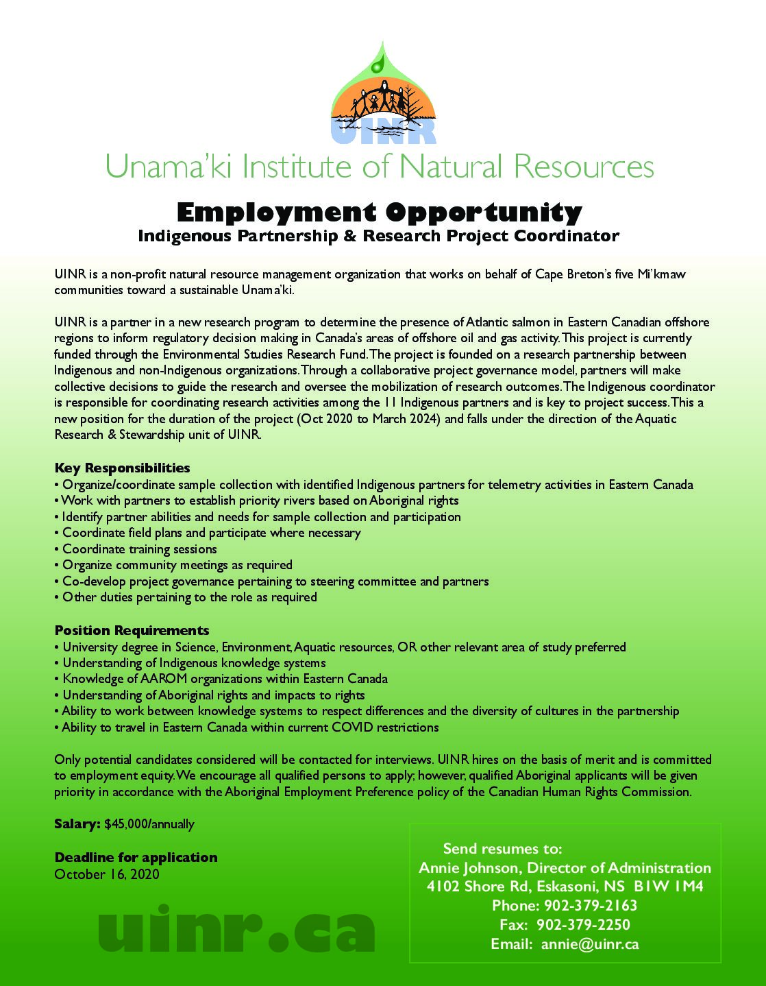 Employment Opportunity: Indigenous Partnership & Research Project Coordinator