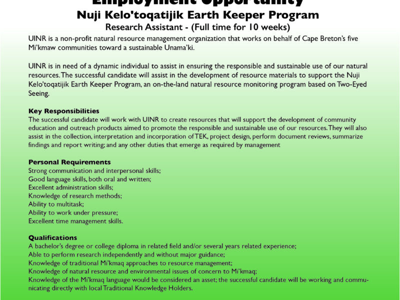 Job Posting: Earth Keeper Research Assistant
